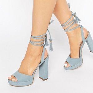 Aldo Chareri Blue Platform Sandal w/ Braided Ankle